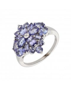 Pre-Owned 9ct White Gold Tanzanite Cluster Ring