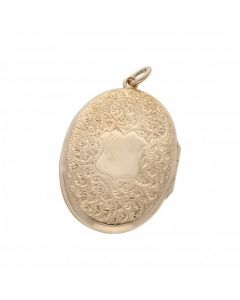 Pre-Owned 9ct Gold Reverse Opening Patterned Locket Pendant