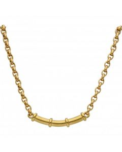 Pre-Owned 18ct Yellow Gold 15 Inch Bar & Belcher Link Necklet