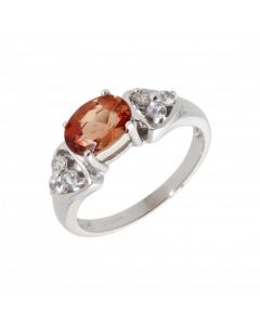 Pre-Owned 9ct White Gold Orange & White Topaz Dress Ring