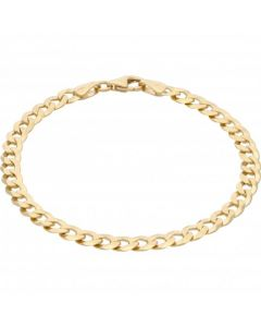 New 9ct Yellow Gold 7.5 Inch Solid Curb Bracelet 6g