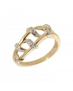Pre-Owned 9ct Yellow Gold Diamond Set Split Wave Ring