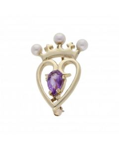 Pre-Owned 9ct Yellow Gold Amethsyt & Pearl Heart Crown Brooch