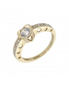 Pre-Owned 9ct Yellow Gold Cubic Zirconia Heart Dress Ring