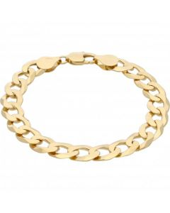 New 9ct Yellow Gold Solid 8 Inch Heavy Flat Curb Bracelet 21.g