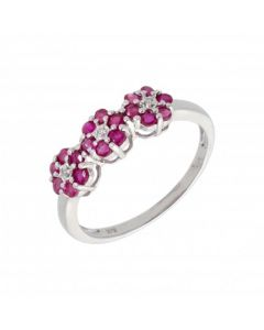 New 9ct White Gold Ruby & Diamond 3 Cluster Ring