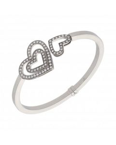 Pre-Owned 9ct White Gold Hollow Cubic Zirconia Hearts Bangle