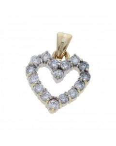 Pre-Owned 9ct Yellow Gold Cubic Zirconia Set Heart Pendant