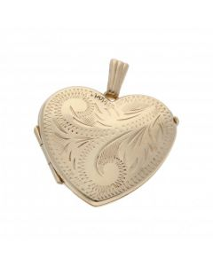 Pre-Owned 9ct Yellow Gold Patterned Heart Shaped Locket Pendant