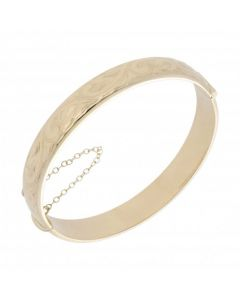 Pre-Owned 9ct Yellow Gold 10mm Hollow Patterned Cuff Bangle