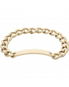 Pre-Owned 9ct Yellow Gold 8 Inch Curb Link Identity Bar Bracelet