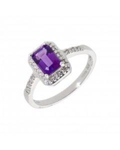 New 9ct White Gold Amethyst & Diamond Rectangle Cluster Ring