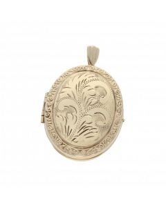 Pre-Owned 9ct Yellow Gold Patterned Oval Family Locket Pendant
