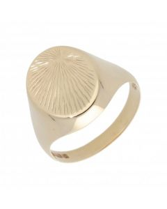 Pre-Owned 9ct Yellow Gold Patterned Oval Signet Ring