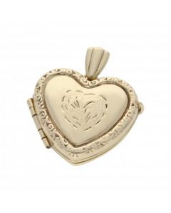 Pre-Owned 9ct Gold Patterned Heart Shaped Family Locket Pendant