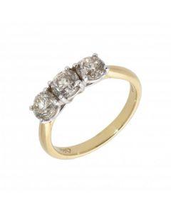 New 18ct Yellow Gold 1.54ct Diamond Trilogy 3 Stone Ring