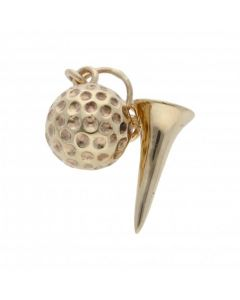 Pre-Owned 9ct Yellow Gold Golf Tee & Golf Ball Charm
