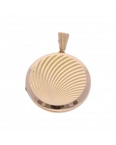 Pre-Owned 9ct Yellow Gold Patterned Round Locket Pendant