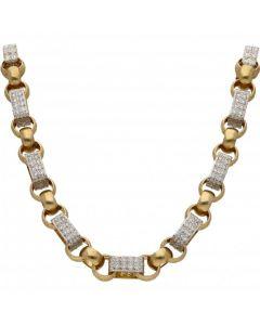 New 9ct Gold Cubic Zirconia Figaro & Belcher Heavy Chain 7.2oz
