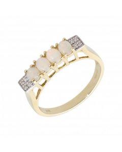 New 9ct Yellow Gold Opal & Diamond Eternity Style Dress Ring