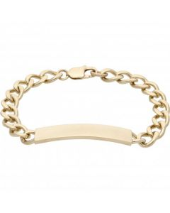 Pre-Owned 9ct Yellow Gold 8 Inch Identity Bar Curb Link Bracelet