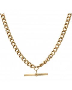 Pre-Owned 9ct Yellow Gold Albert Link & T-Bar Chain Necklace