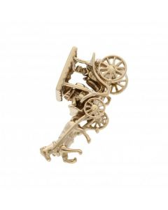 Pre-Owned 9ct Yellow Gold Vintage Horse & Carriage Charm