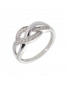 New 9ct White Gold Diamond Set Woven Style Ring