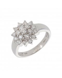 New 9ct White Gold 1.00ct Diamond Cluster Ring
