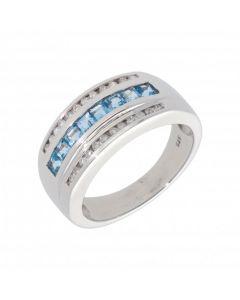 New 9ct White Gold Blue Topaz & Diamond Dress Ring