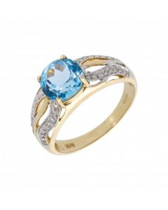 New 9ct Yellow Gold Blue Topaz & Diamond Dress Ring
