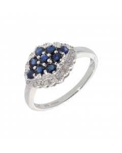 New 9ct White Gold Sapphire & Diamond Cluster Dress Ring
