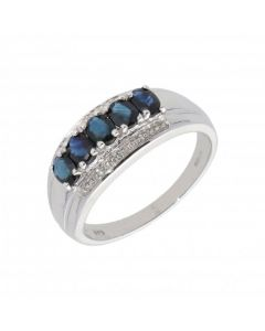 New 9ct White Gold Sapphire & Diamond Dress Ring