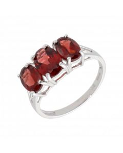 New 9ct White Gold Garnet & Diamond Trilogy Dress Ring