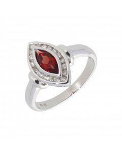 New 9ct White Gold Garnet & Diamond Dress Ring
