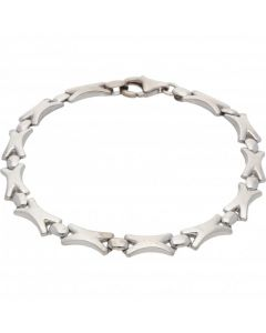 Pre-Owned 9ct White Gold 7.2 Inch Hollow Kiss Link Bracelet