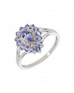 New 9ct White Gold Tanzanite & Diamond Pear Cluster Dress Ring