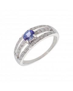 New 9ct White Gold Tanzanite & Diamond Dress Ring