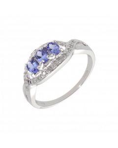 New 9ct White Gold Tanzanite & Diamond Trilogy Dress Ring