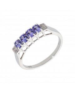 New 9ct White Gold Tanzanite & Diamond Eternity Dress Ring