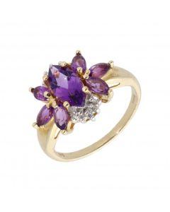 New 9ct Yellow Gold Amethyst & Diamond Cluster Dress Ring