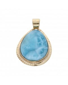 Pre-Owned 9ct Yellow Gold Large Blue Larimar Teardrop Pendant