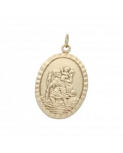 Pre-Owned 9ct Yellow Gold Oval St.Christopher Pendant