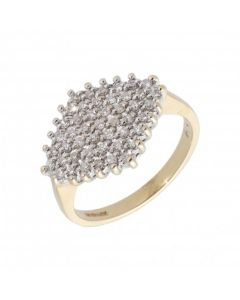 Pre-Owned 9ct Yellow Gold 0.47 Carat Diamond Cluster Ring