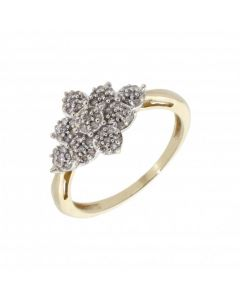 Pre-Owned 9ct Yellow Gold Diamond Cluster Ring