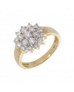 New 9ct Yellow Gold 1.00ct Diamond Cluster Ring