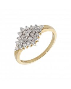 New 9ct Yellow Gold 0.50ct Diamond Cluster Ring