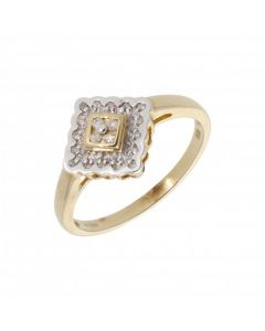 New 9ct Yellow Gold Diamond Set Fancy Cluster Ring