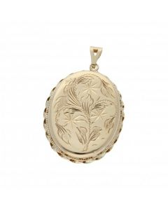 Pre-Owned 9ct Gold Twist Edge Patterned Oval Locket Pendant
