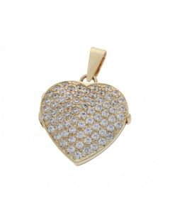 Pre-Owned 9ct Yellow Gold Cubic Zirconia Heart Locket Pendant